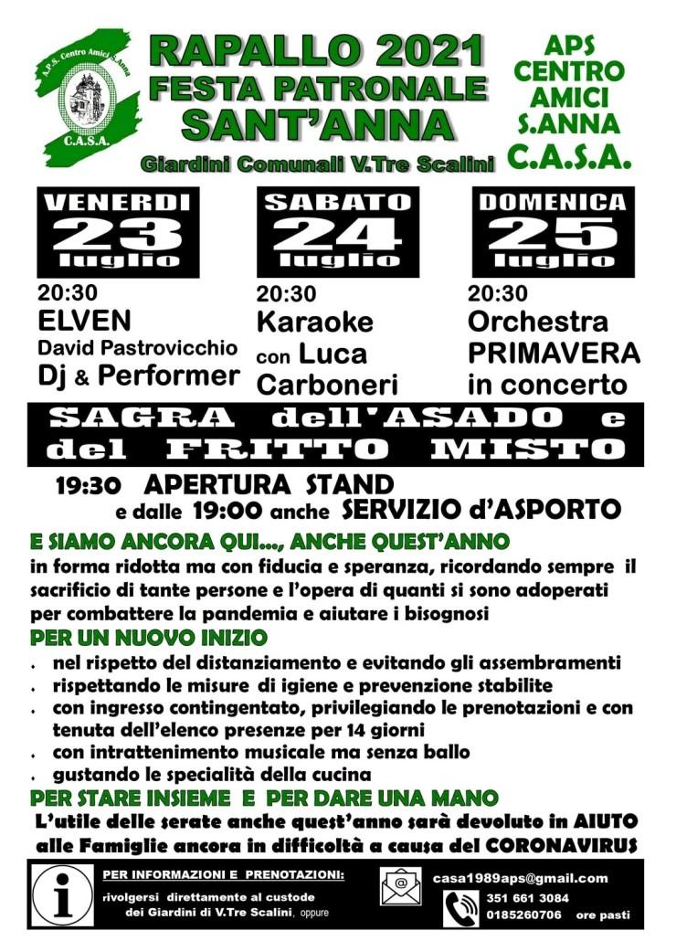 RAPALLO (GE): Festa patronale di Sant'Anna 2021