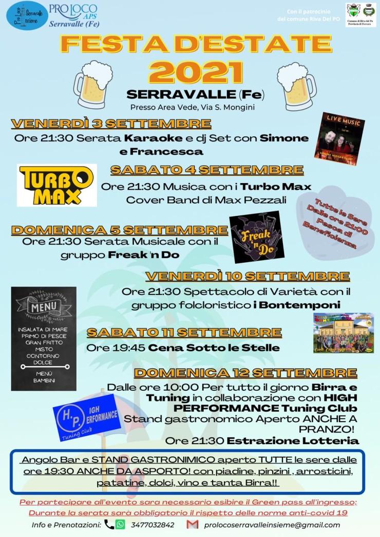 RIVA DEL PO (FE): Festa d'Estate 2021 a Serravalle