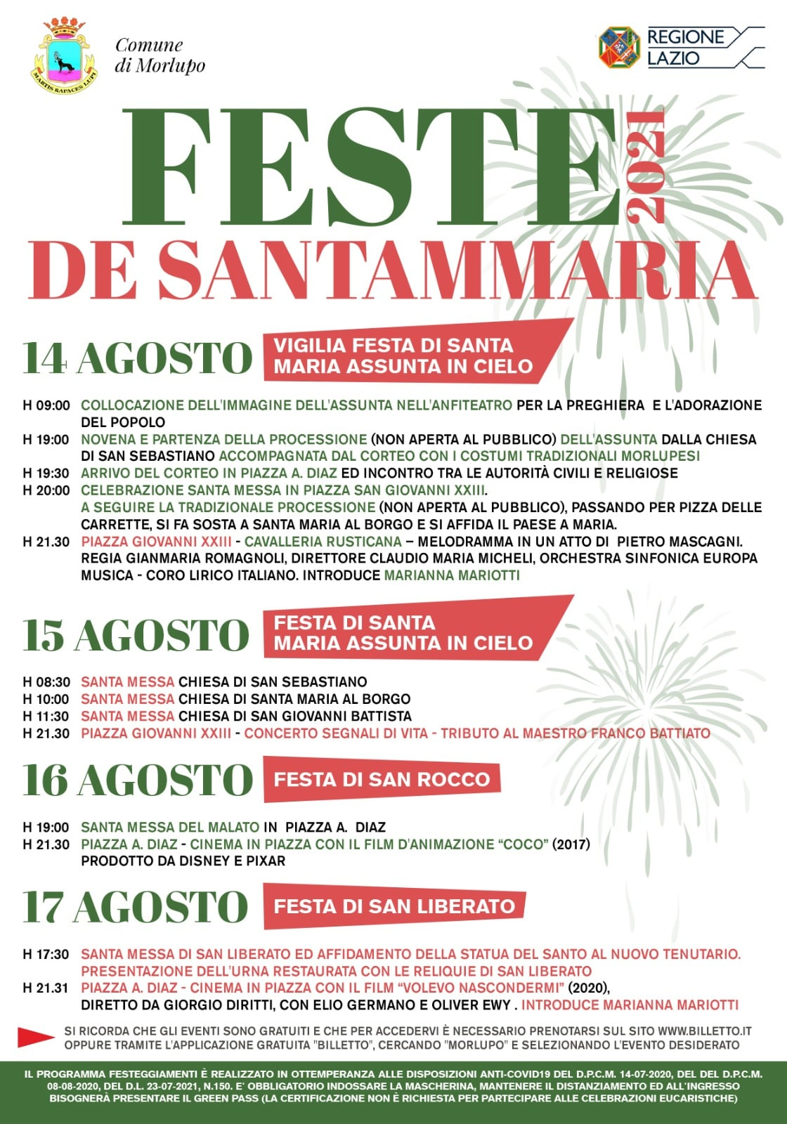 MORLUPO (RM): Feste di Santammaria 2021