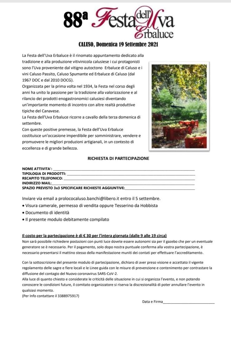 CALUSO (NO): Festa dell'uva Erbaluce 2021